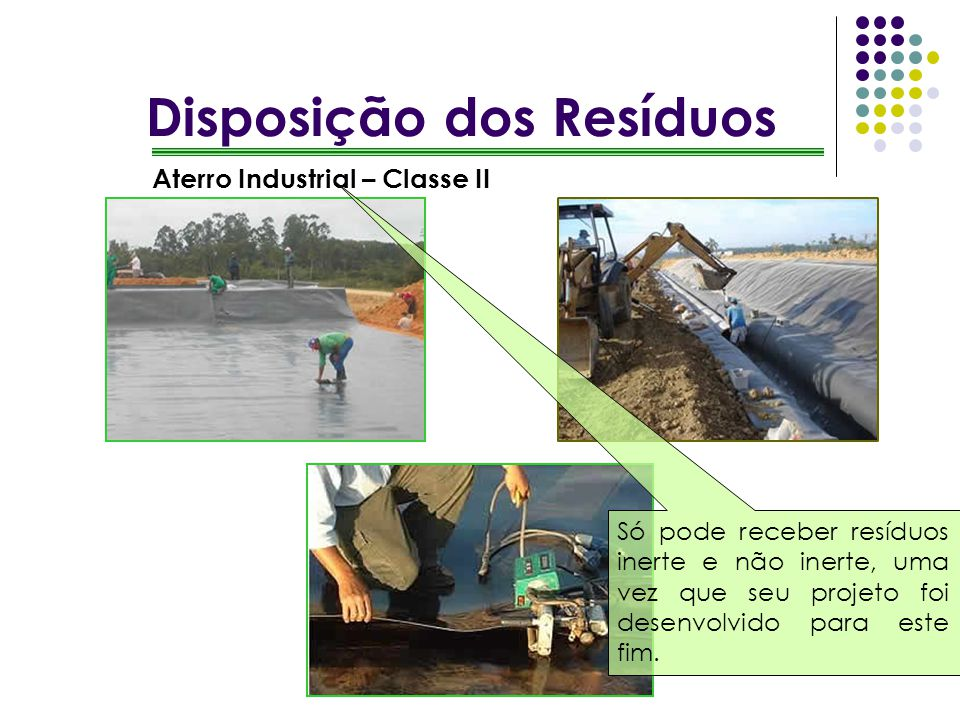 Aterro Industrial – Classe II Só pode receber resíduos inerte e não inerte, uma vez que seu projeto foi desenvolvido para este fim.