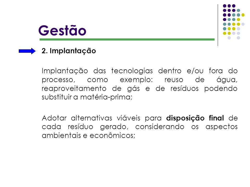 2. Implantação Implantação das tecnologias dentro e/ou fora do processo, como exemplo: reuso de água, reaproveitamento de gás e de resíduos podendo su