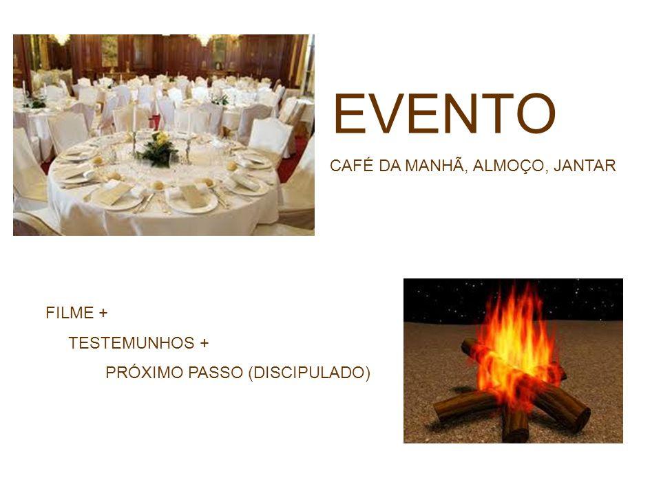 EVENTO CAFÉ DA MANHÃ, ALMOÇO, JANTAR FILME + TESTEMUNHOS + PRÓXIMO PASSO (DISCIPULADO)