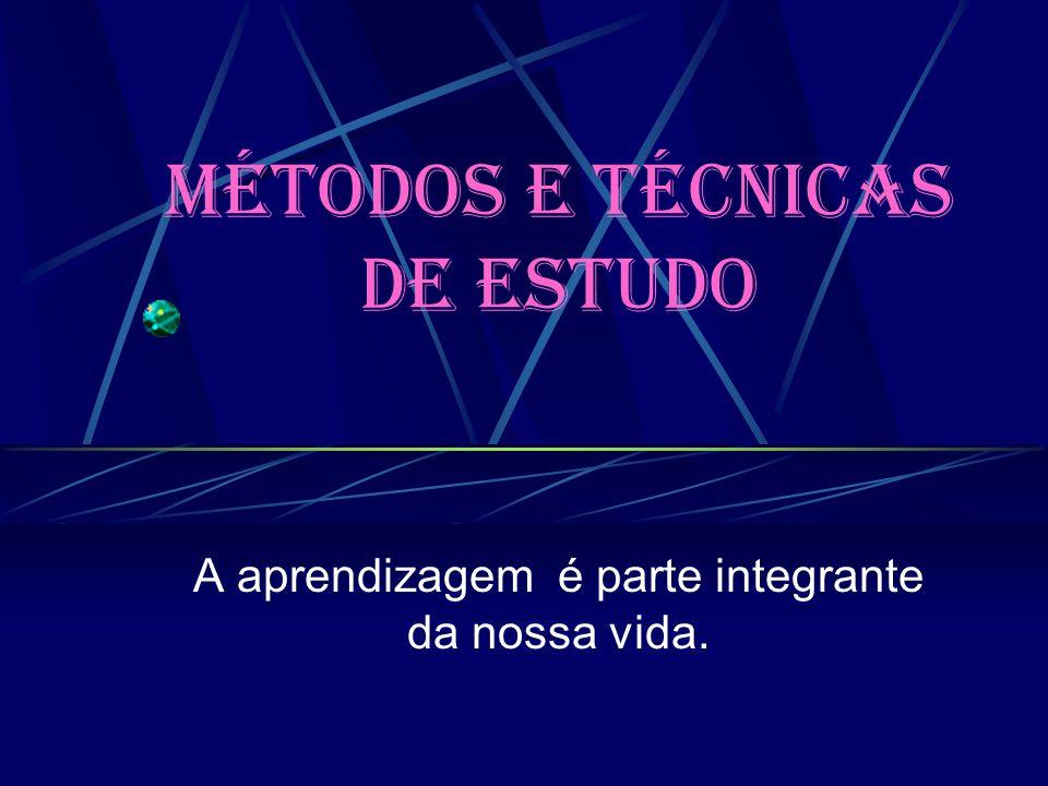 Métodos e técnicas de Estudo A aprendizagem é parte integrante da nossa vida.