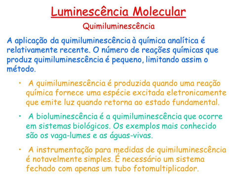 Quimiluminescência A aplicação da quimiluminescência à química analítica é relativamente recente.