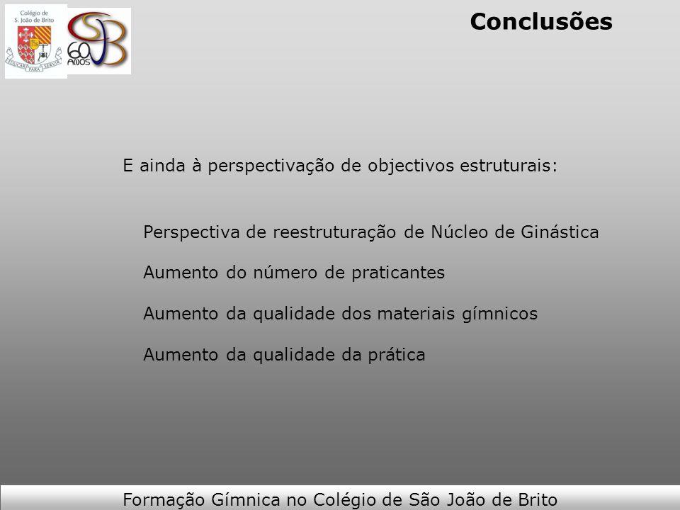Conclusões E ainda à perspectivação de objectivos estruturais: Perspectiva de reestruturação de Núcleo de Ginástica Aumento do número de praticantes A