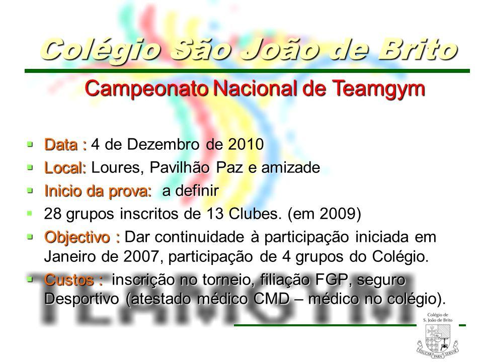 14 Campeonato Nacional de Teamgym Campeonato Nacional de Teamgym Data : Data : 4 de Dezembro de 2010 Local: Loures, Pavilhão Paz e amizade Local: Lour
