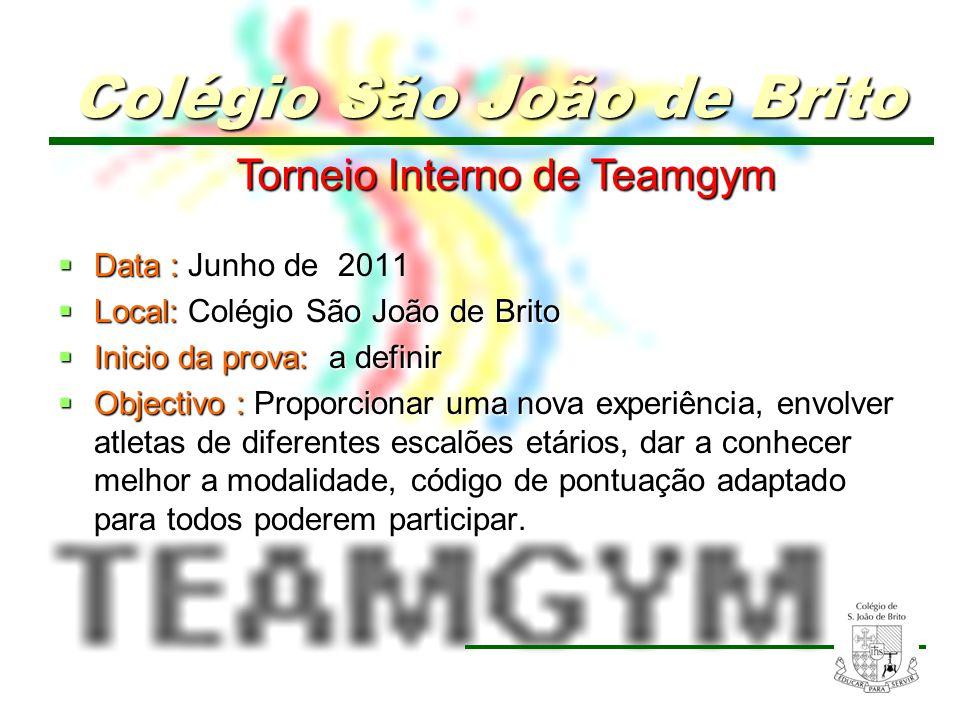 16 Torneio Interno de Teamgym Torneio Interno de Teamgym Data : Data : Junho de 2011 Local: Colégio São João de Brito Local: Colégio São João de Brito