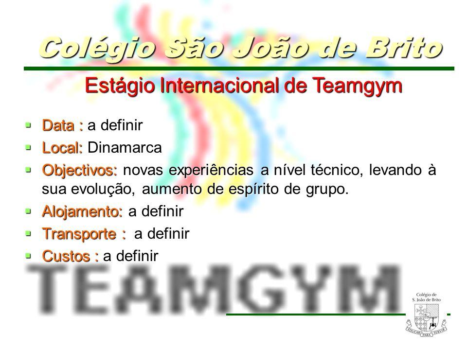 18 Estágio Internacional de Teamgym Data : Data : a definir Local: Dinamarca Local: Dinamarca Objectivos: novas experiências a nível técnico, levando