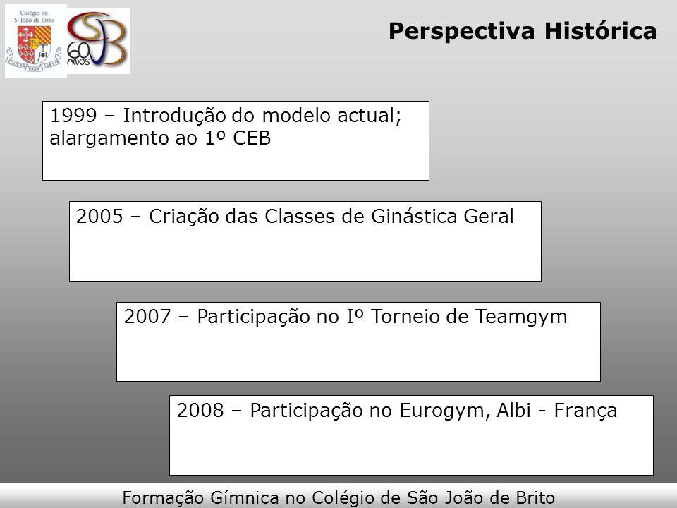 Perspectiva Histórica 1999 – Introdução do modelo actual; alargamento ao 1º CEB 2005 – Criação das Classes de Ginástica Geral 2007 – Participação no I