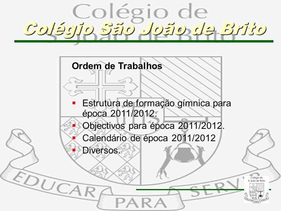 2 Ordem de Trabalhos Estrutura de formação gímnica para época 2011/2012. Estrutura de formação gímnica para época 2011/2012. Objectivos para época 201
