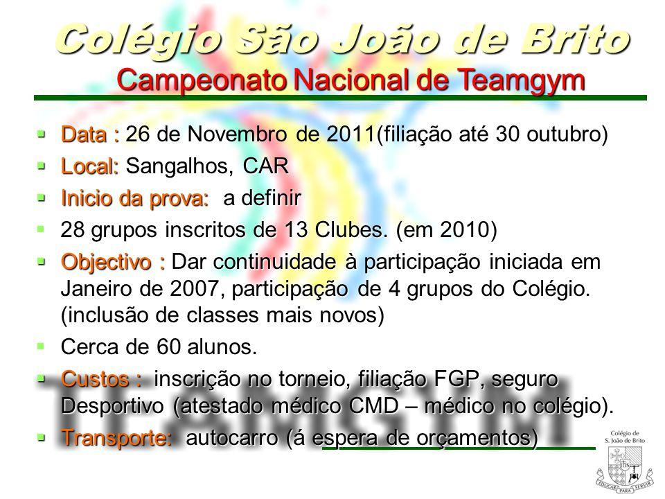 8 Campeonato Nacional de Teamgym Campeonato Nacional de Teamgym Data : Data : 26 de Novembro de 2011(filiação até 30 outubro) Local: Sangalhos, CAR Lo