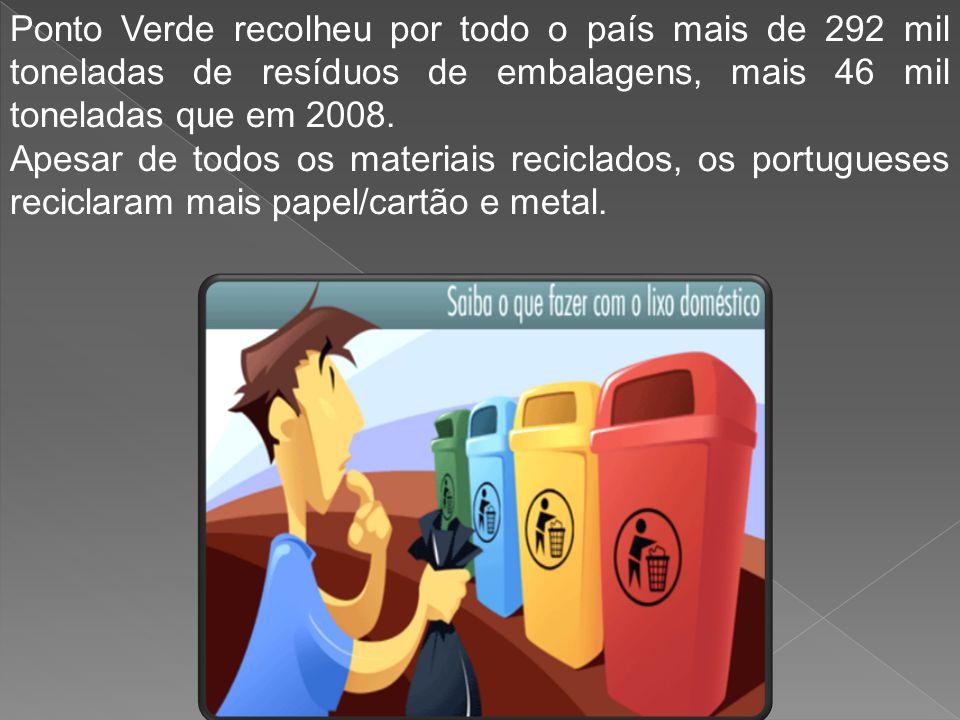 Ponto Verde recolheu por todo o país mais de 292 mil toneladas de resíduos de embalagens, mais 46 mil toneladas que em 2008. Apesar de todos os materi