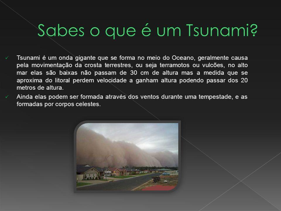 Tsunami é um onda gigante que se forma no meio do Oceano, geralmente causa pela movimentação da crosta terrestres, ou seja terramotos ou vulcões, no a