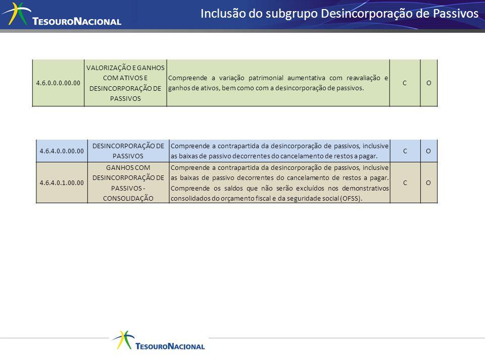 Inclusão do subgrupo Desincorporação de Passivos 4.6.0.0.0.00.00 VALORIZAÇÃO E GANHOS COM ATIVOS E DESINCORPORAÇÃO DE PASSIVOS Compreende a variação p