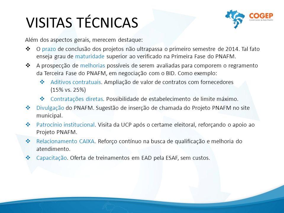 VISITAS TÉCNICAS Além dos aspectos gerais, merecem destaque: O prazo de conclusão dos projetos não ultrapassa o primeiro semestre de 2014.