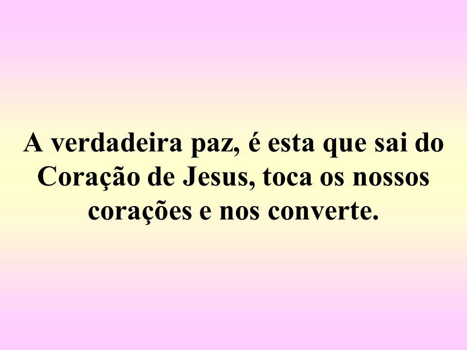 A verdadeira paz, é esta que sai do Coração de Jesus, toca os nossos corações e nos converte.