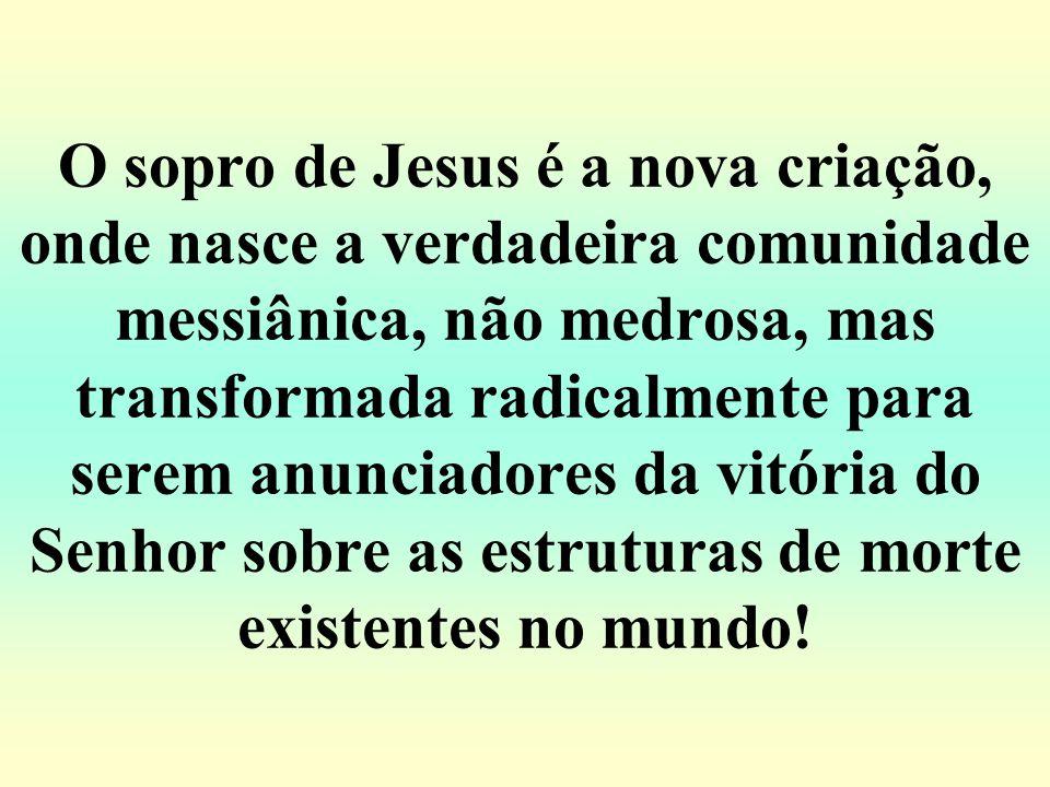 O sopro de Jesus é a nova criação, onde nasce a verdadeira comunidade messiânica, não medrosa, mas transformada radicalmente para serem anunciadores d
