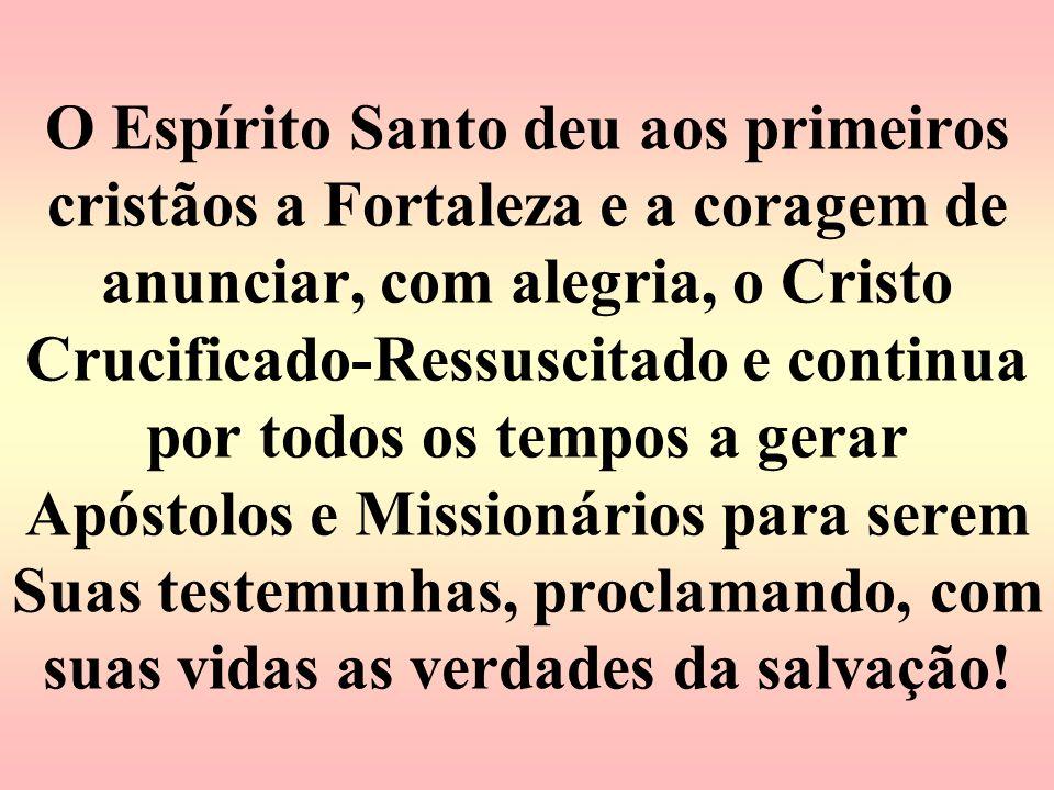 O Espírito Santo deu aos primeiros cristãos a Fortaleza e a coragem de anunciar, com alegria, o Cristo Crucificado-Ressuscitado e continua por todos o