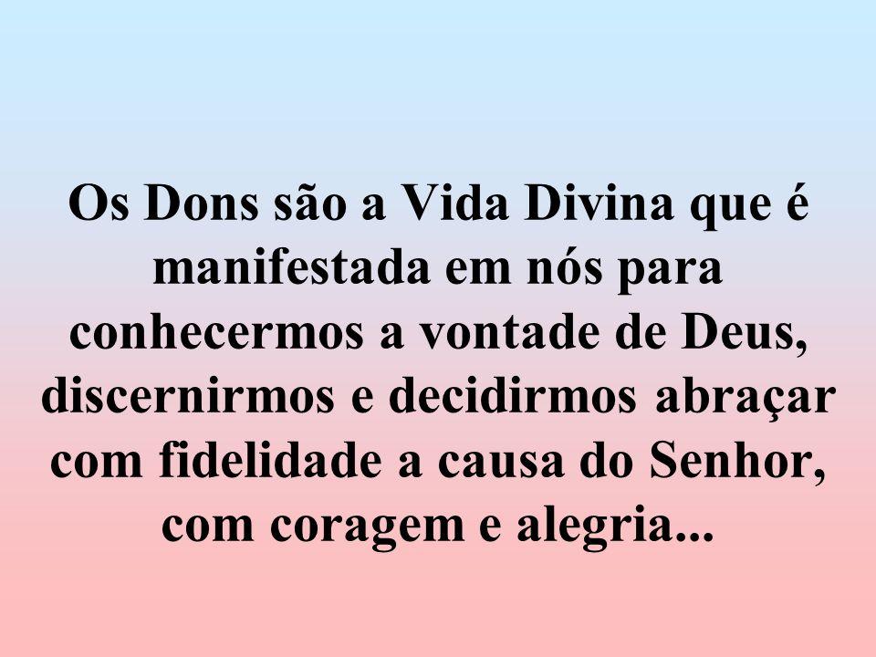 Os Dons são a Vida Divina que é manifestada em nós para conhecermos a vontade de Deus, discernirmos e decidirmos abraçar com fidelidade a causa do Sen