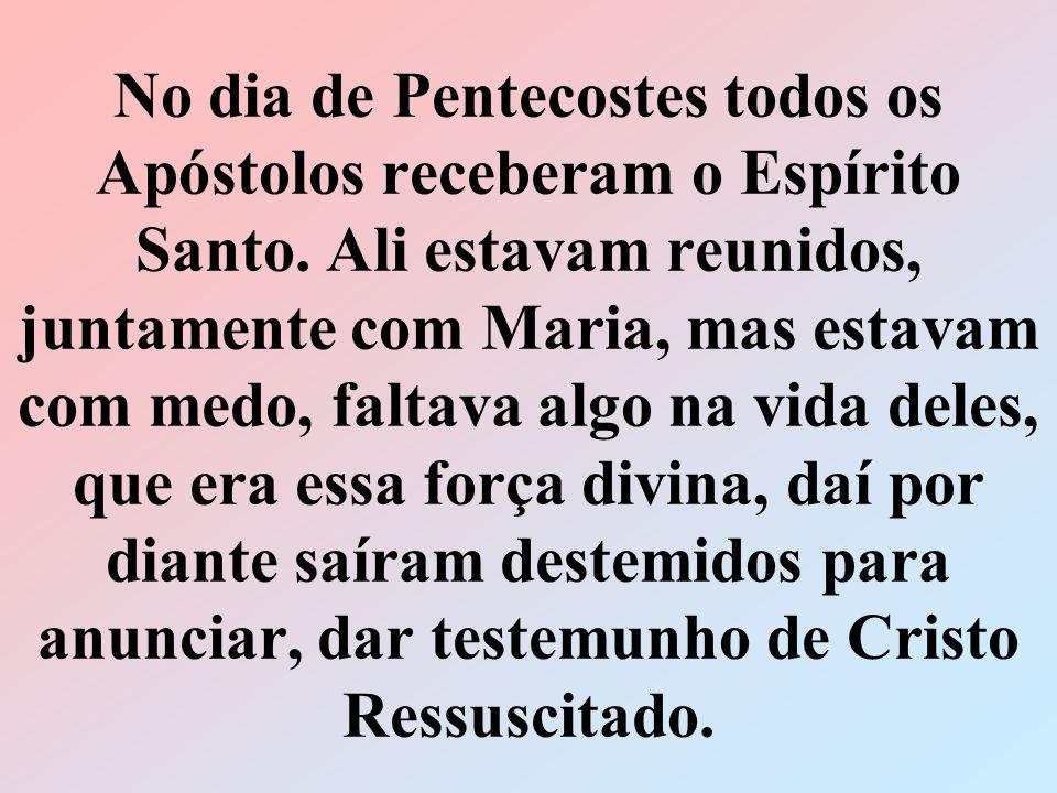 No dia de Pentecostes todos os Apóstolos receberam o Espírito Santo. Ali estavam reunidos, juntamente com Maria, mas estavam com medo, faltava algo na