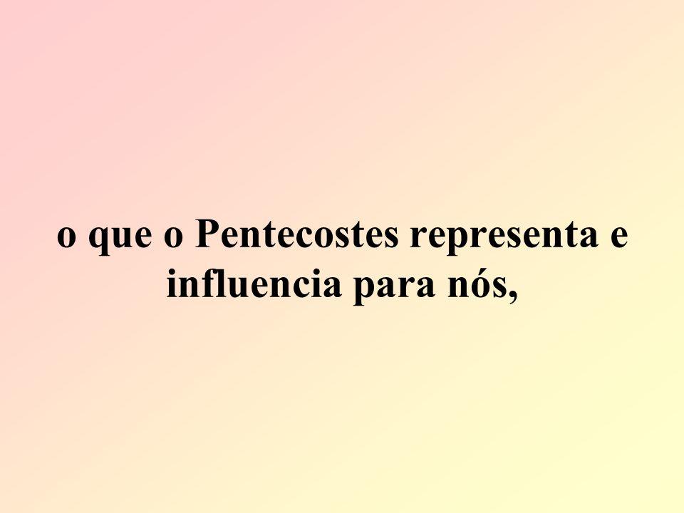 o que o Pentecostes representa e influencia para nós,