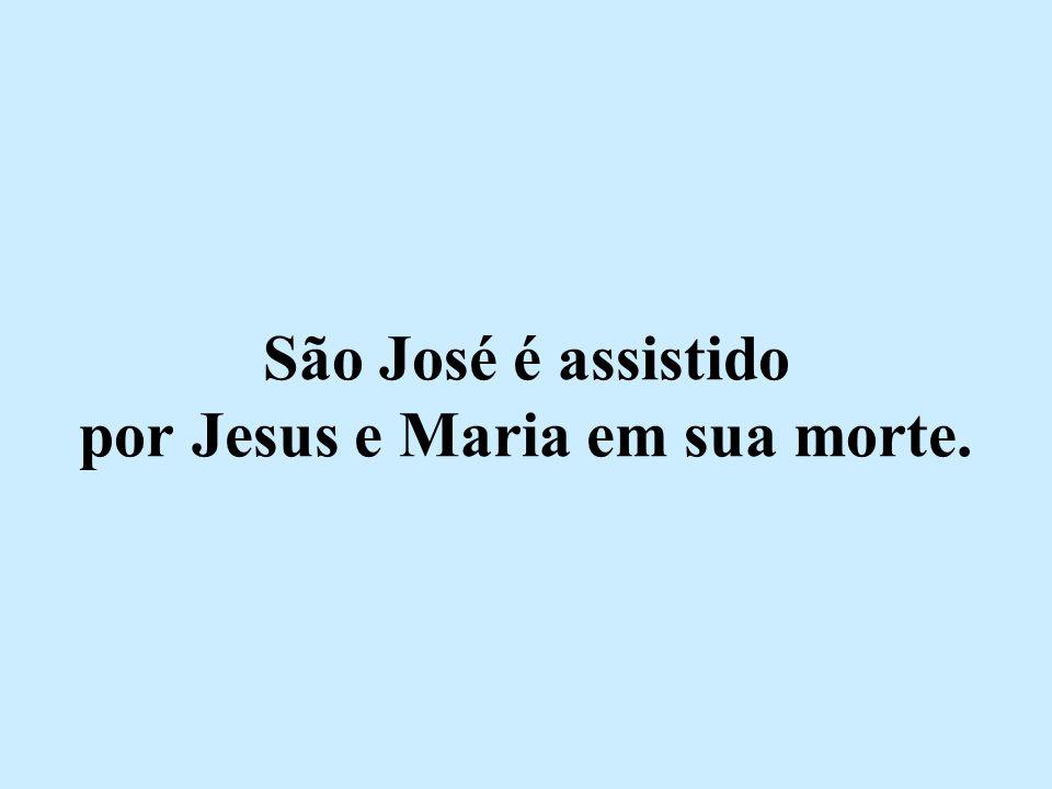São José é assistido por Jesus e Maria em sua morte.