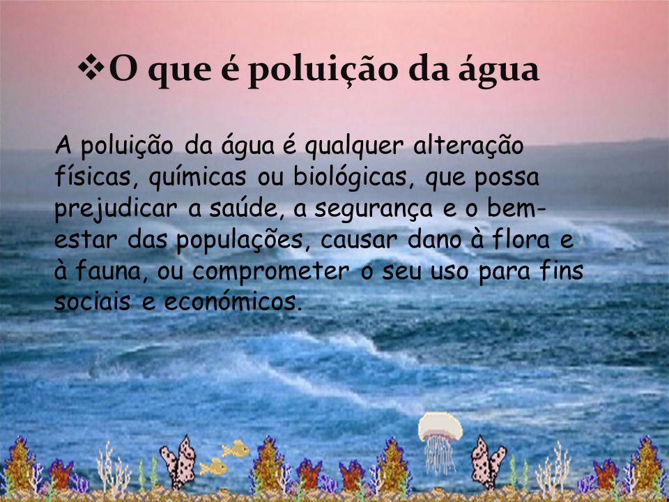 O que é poluição da água A poluição da água é qualquer alteração físicas, químicas ou biológicas, que possa prejudicar a saúde, a segurança e o bem- e