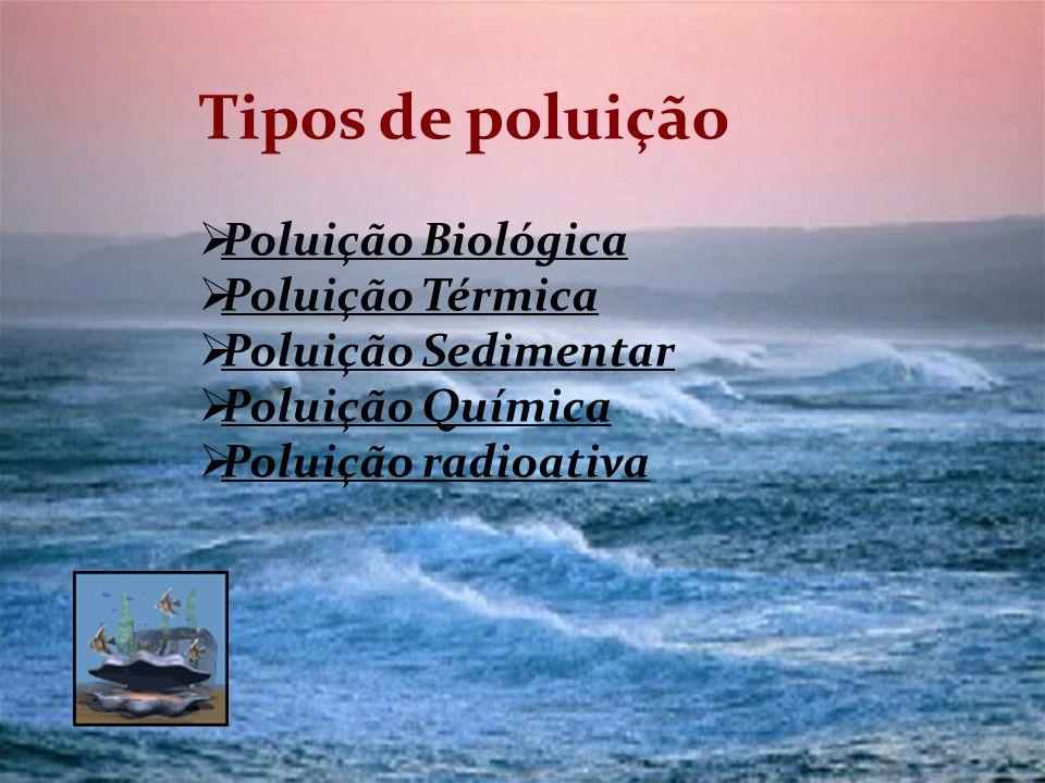 Tipos de poluição Poluição Biológica Poluição Térmica Poluição Sedimentar Poluição Química Poluição radioativa