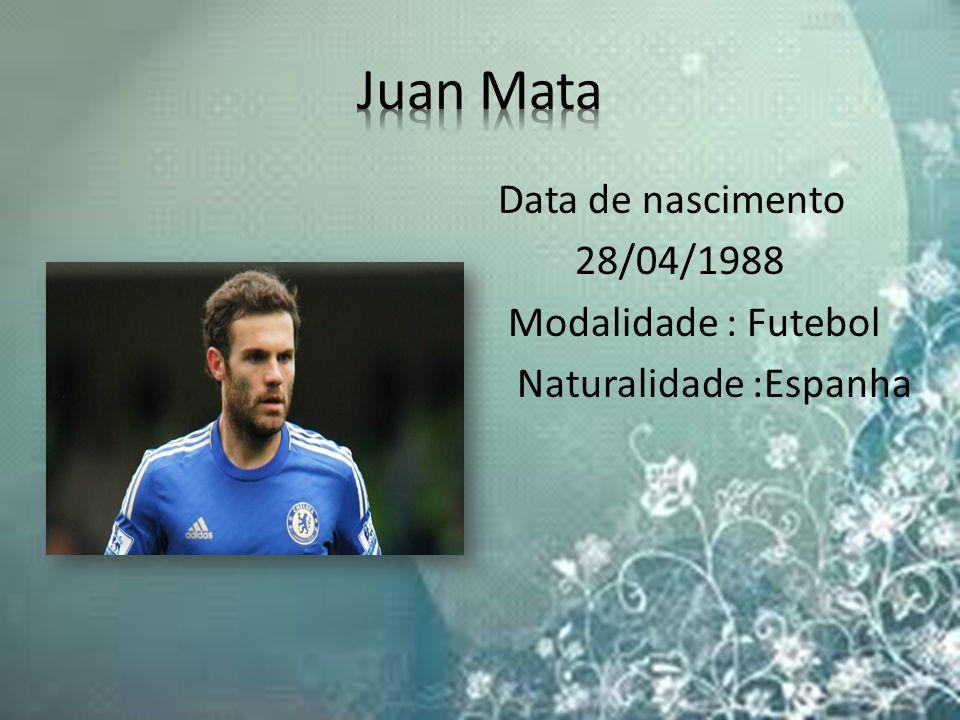 Data de nascimento 28/04/1988 Modalidade : Futebol Naturalidade :Espanha