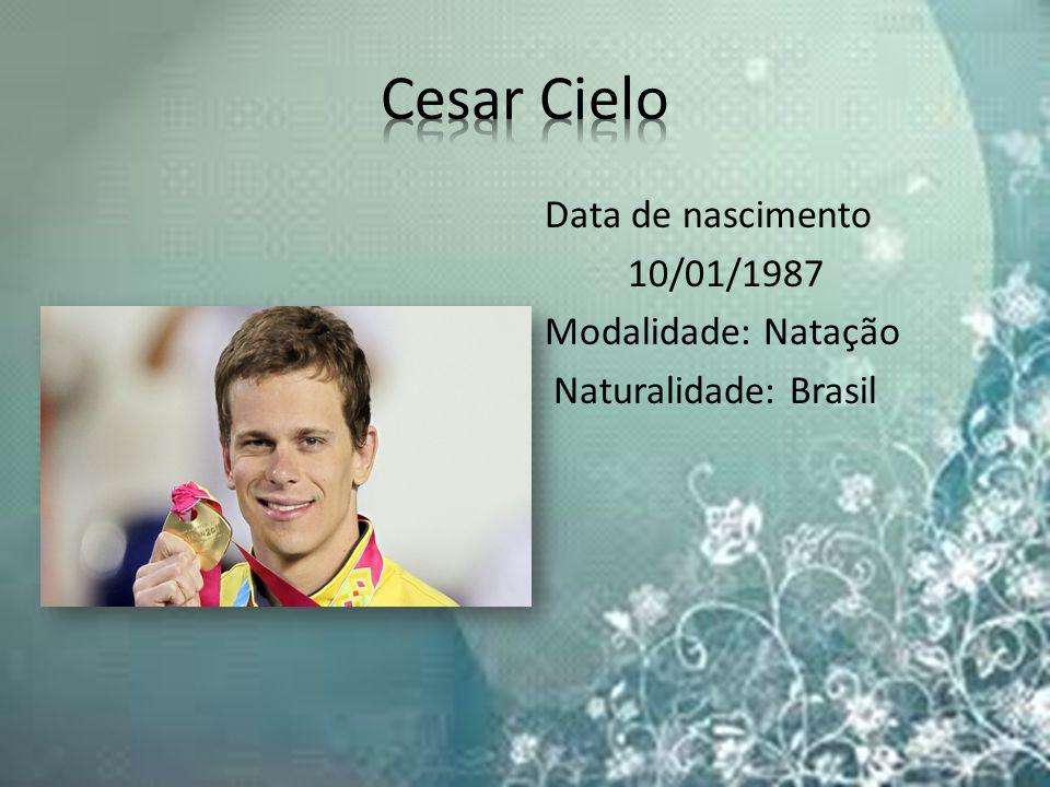 Data de nascimento 10/01/1987 Modalidade: Natação Naturalidade: Brasil