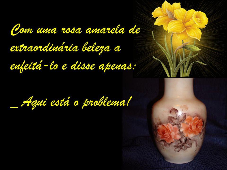 Com uma rosa amarela de extraordinária beleza a enfeitá-lo e disse apenas: _ Aqui está o problema!