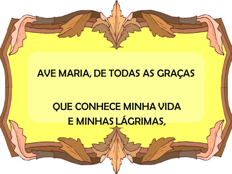 AVE MARIA, DE TODAS AS GRAÇAS QUE CONHECE MINHA VIDA E MINHAS LÁGRIMAS,