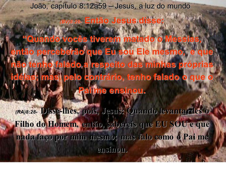(BV)8:25-Diga-nos quem é Você, exigiram eles. Ele respondeu: Eu sou aquele que sempre disse que era. (RA)8:25- Então, lhe perguntaram: Quem és tu? Res