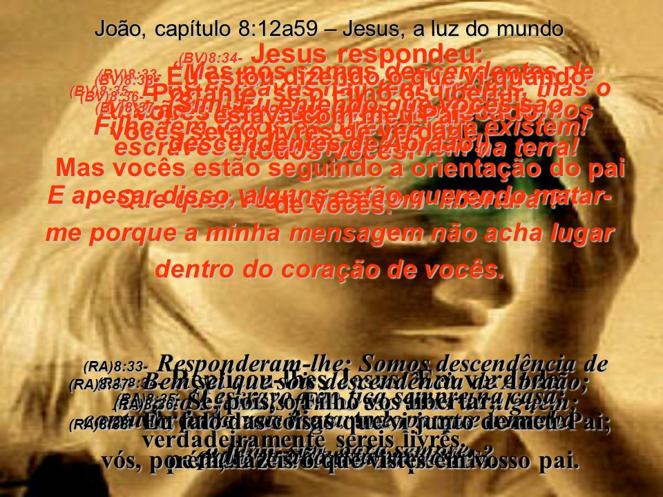(BV)8:29- E aquele que me enviou está comigo – Ele não me abandonou – porque Eu sempre faço as coisas de que Ele gosta. (RA)8:29- E aquele que me envi