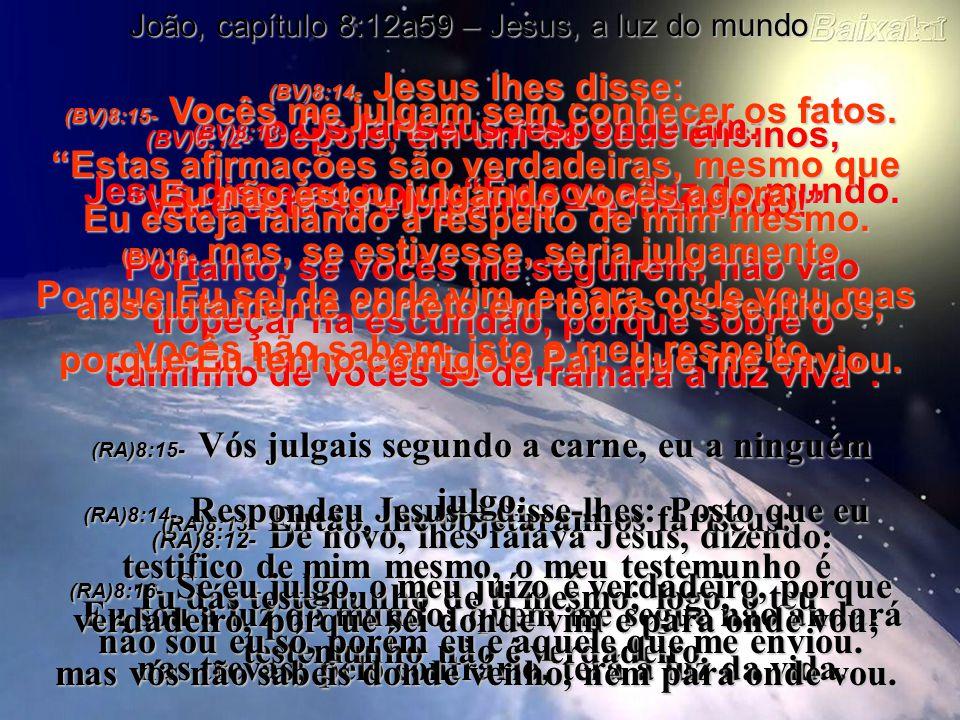(BV)8:12- Depois, em um de seus ensinos, Jesus disse ao povo:Eu sou a luz do mundo.