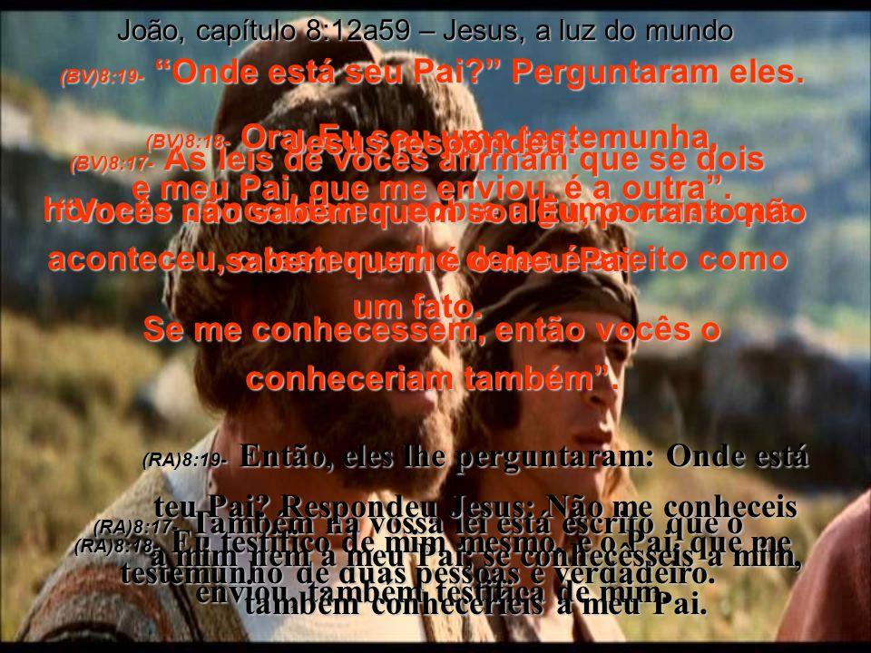 (BV)8:17- As leis de vocês afirmam que se dois homens concordarem sobre alguma coisa que aconteceu, o testemunho deles é aceito como um fato.