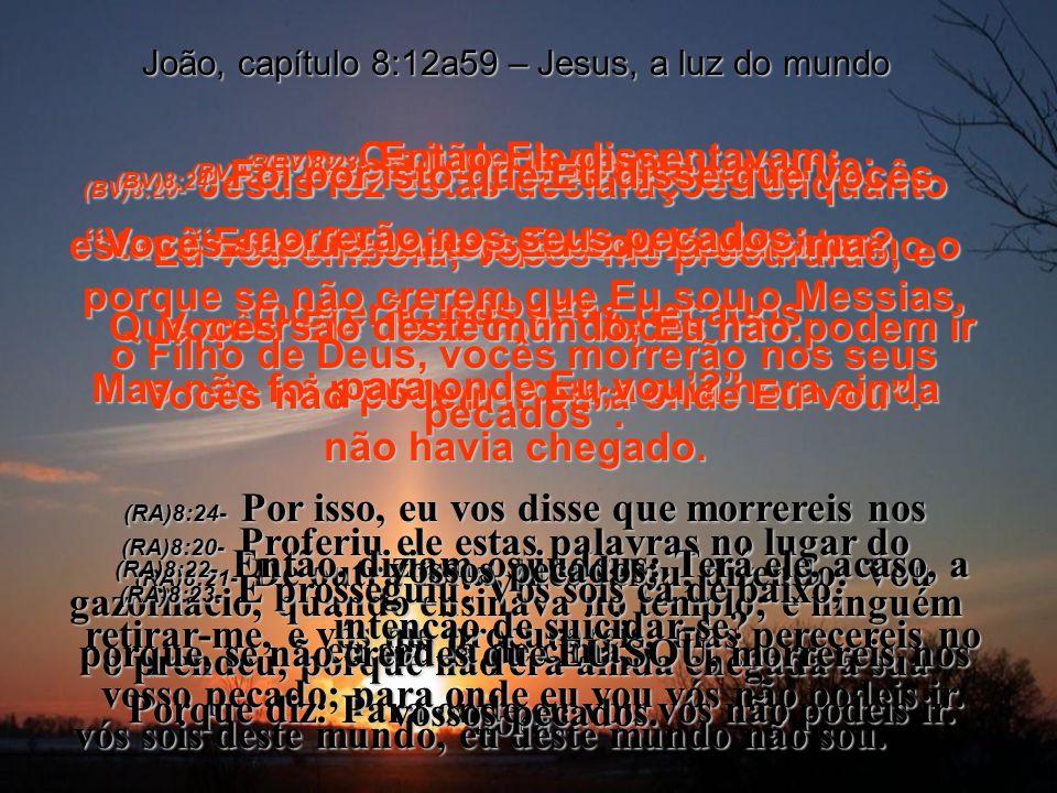 (BV)8:17- As leis de vocês afirmam que se dois homens concordarem sobre alguma coisa que aconteceu, o testemunho deles é aceito como um fato. (RA)8:17