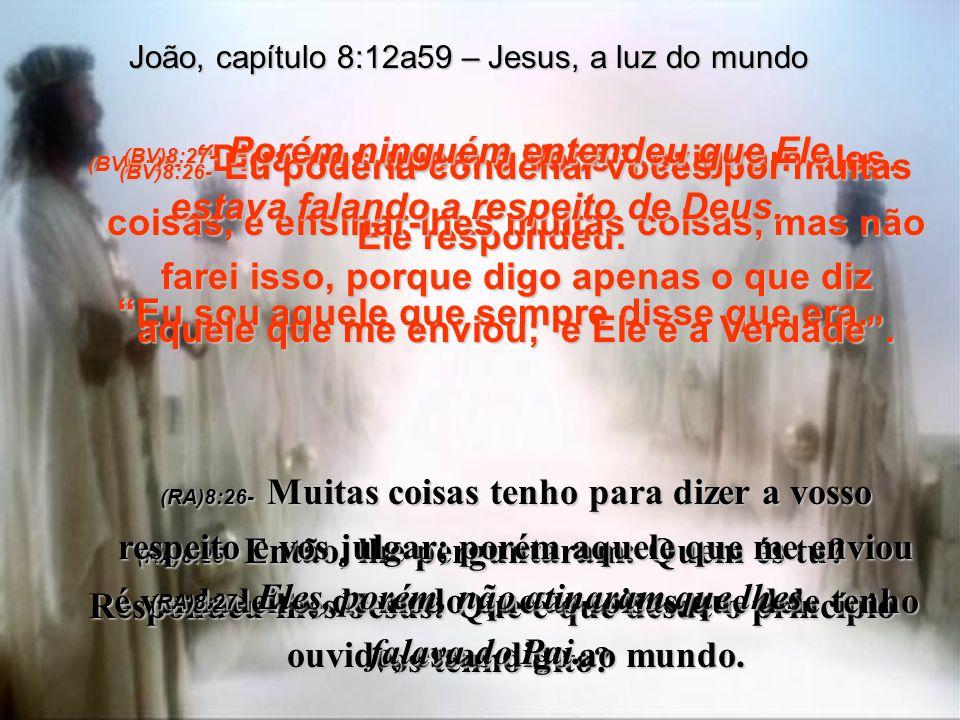 (BV)8:20- Jesus fez estas declarações enquanto estava na parte do templo conhecida como o Tesouro. Mas não foi preso, porque a sua hora ainda não havi