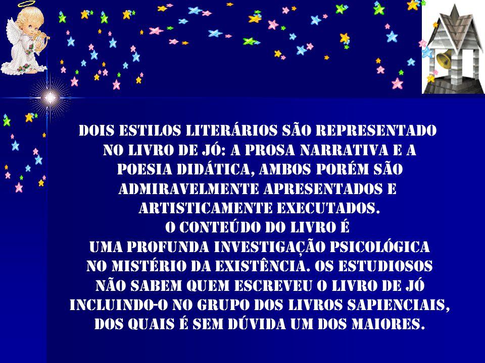 O livro consiste em cinco partes: 1º o prólogo escrito em prosa como o epílogo (1-2) 2º Os colóquios entre Jó e seus amigos (cap. 3-31) 3º discursos d