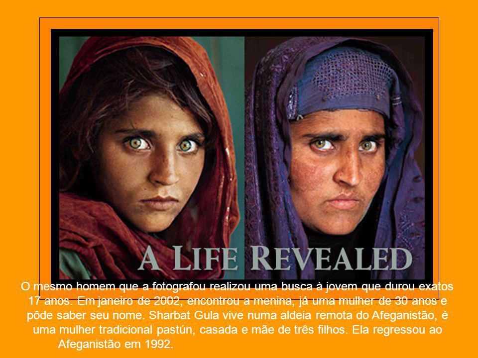 A menina Afegã Sharbat Gula foi fotografada quando tinha 12 anos pelo fotógrafo Steve McCurry, em junho de 1984. Foi no acampamento de refugiados Nasi