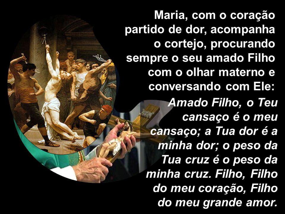 7ª estação: Jesus cai pela segunda vez. Ave Maria... Rezemos pelos que se dedicam a todo tipo de vício, para que tenham coragem de se levantar pela co