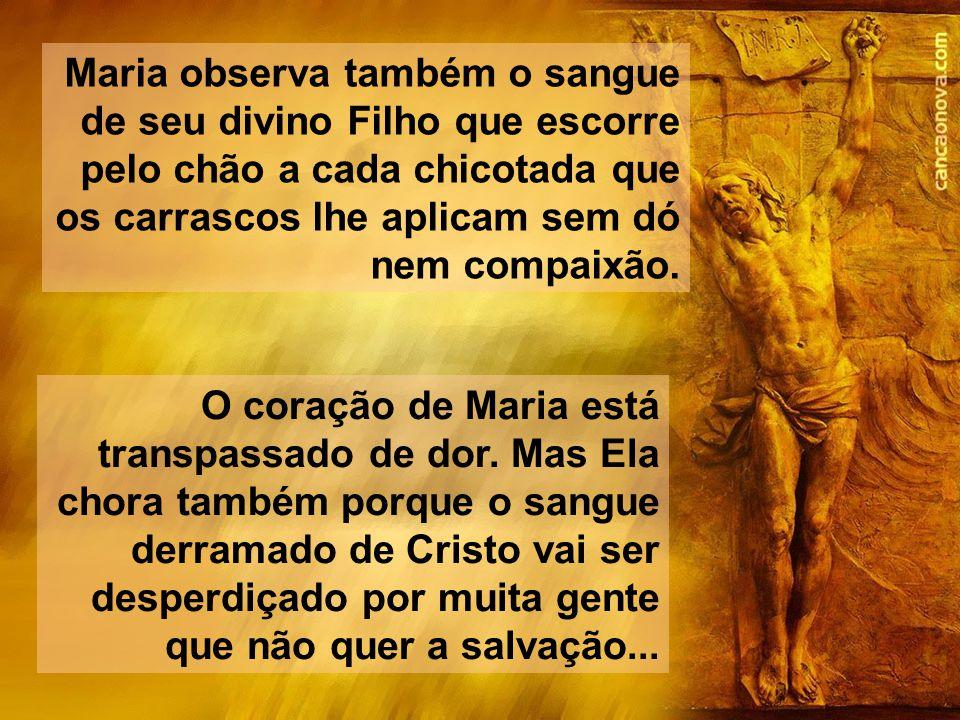 As abundantes lágrimas de Maria são, acima de tudo, por ver Jesus tão horrivelmente injustiçado por seus algozes. Mas Maria sabe que todo esse drama é