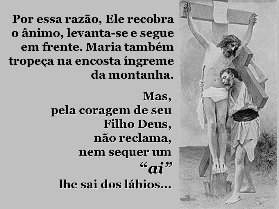 São os nossos pecados que se repetem que fazem Jesus perder as forças e cair. Jesus e Maria estão exaustos. Jesus sente a força da oração de Sua Mãe n
