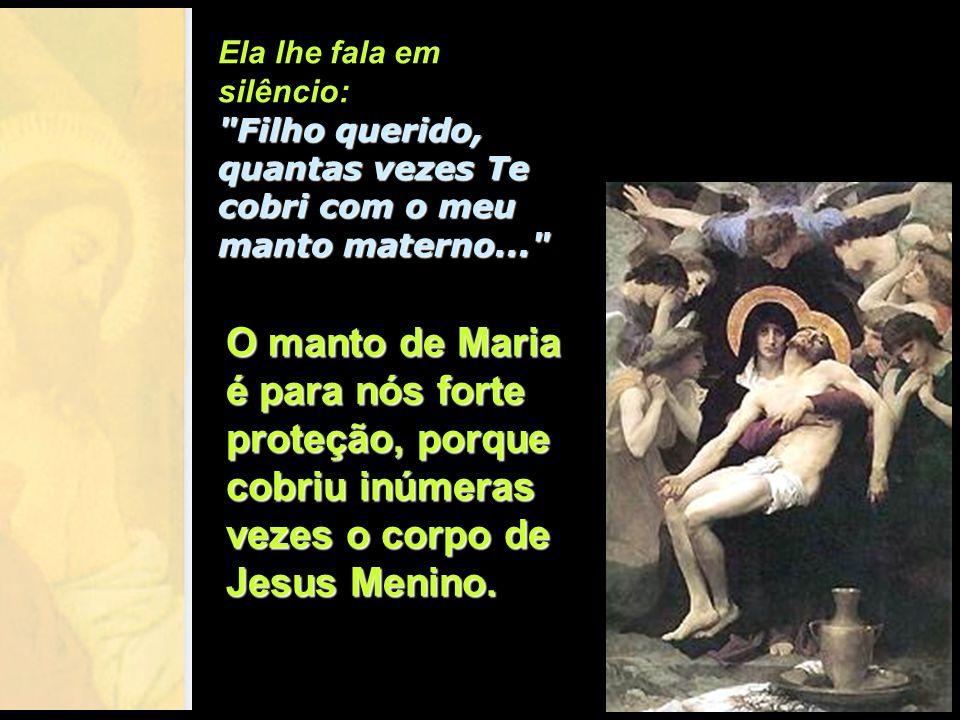 Agora, descido da cruz e morto em seus braços, Maria sabe que a missão de seu Filho foi cumprida. Ela sabe também que Jesus vai ressuscitar; porém não