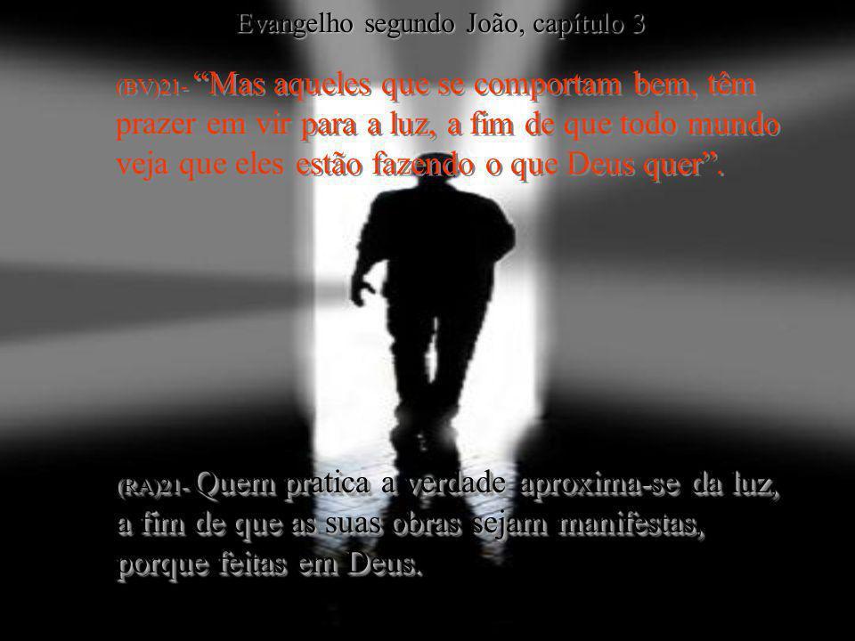 (BV)21- Mas aqueles que se comportam bem, têm prazer em vir para a luz, a fim de que todo mundo veja que eles estão fazendo o que Deus quer. (RA)21- Q