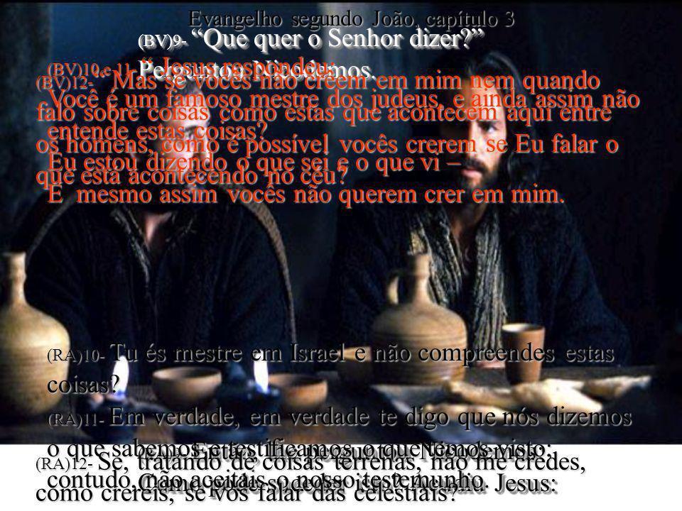 (BV)9- Que quer o Senhor dizer? Perguntou Nicodemos. (RA)9- Então, lhe perguntou Nicodemos: Como pode suceder isto? Acudiu Jesus: (BV)9- Que quer o Se
