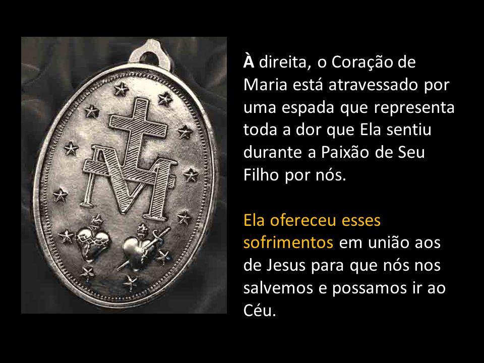 Lado a lado, estão o Coração de Jesus e o Coração de Maria.