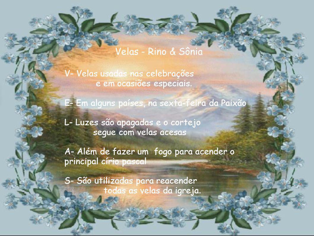 A - A bênção da água é feita com G- Grande celebração no sábado de aleluia U- Utilizada nos batismos, durante o ano A- Água representa o Cristo- Fonte de vida Água -Giovanni & Camila