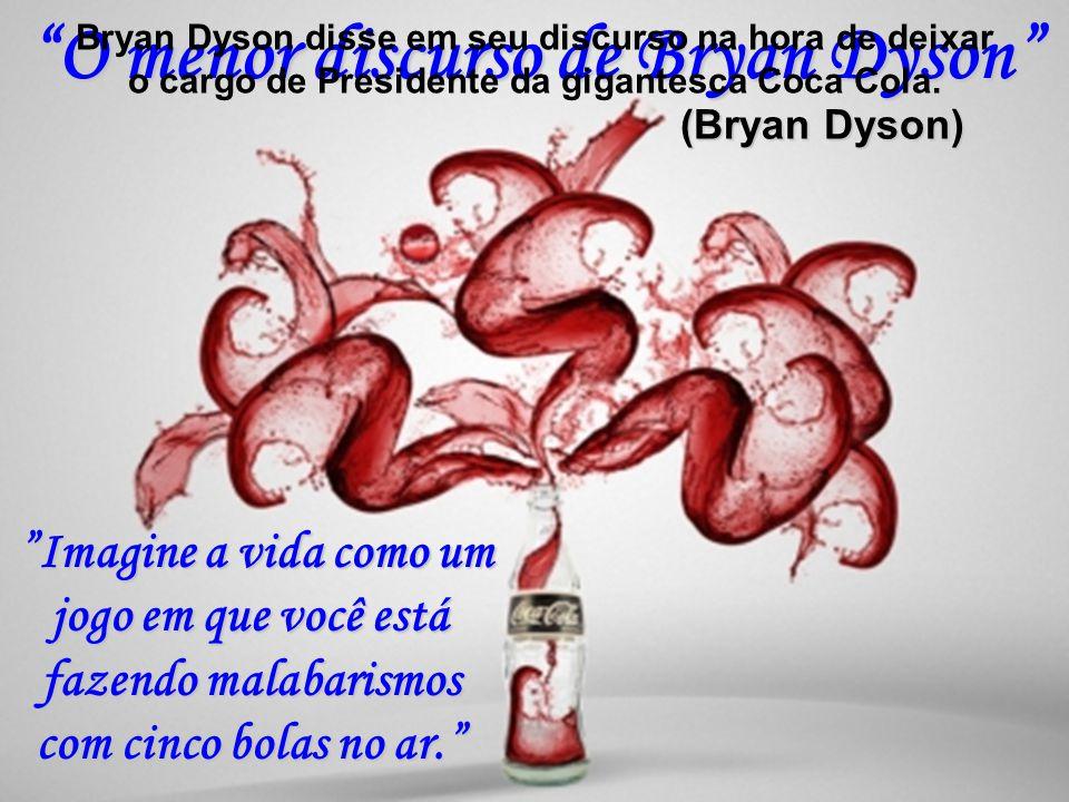 O menor discurso de Bryan Dyson (Bryan Dyson) Imagine a vida como um jogo em que você está fazendo malabarismos com cinco bolas no ar.