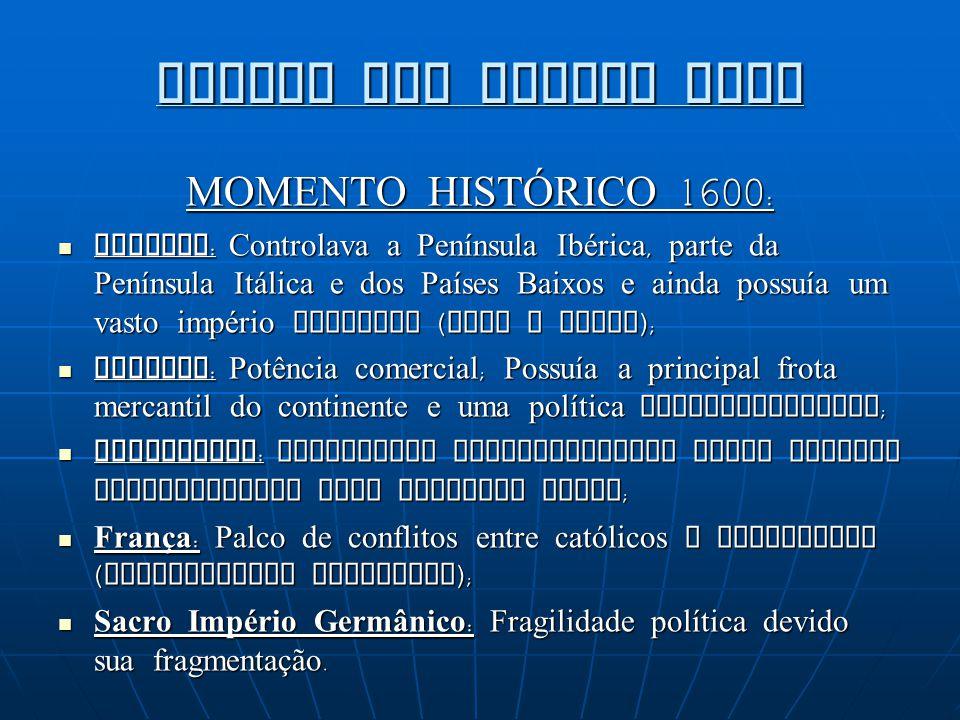GUERRA DOS TRINTA ANOS MOMENTO HISTÓRICO 1600: Espanha: Controlava a Península Ibérica, parte da Península Itálica e dos Países Baixos e ainda possuía