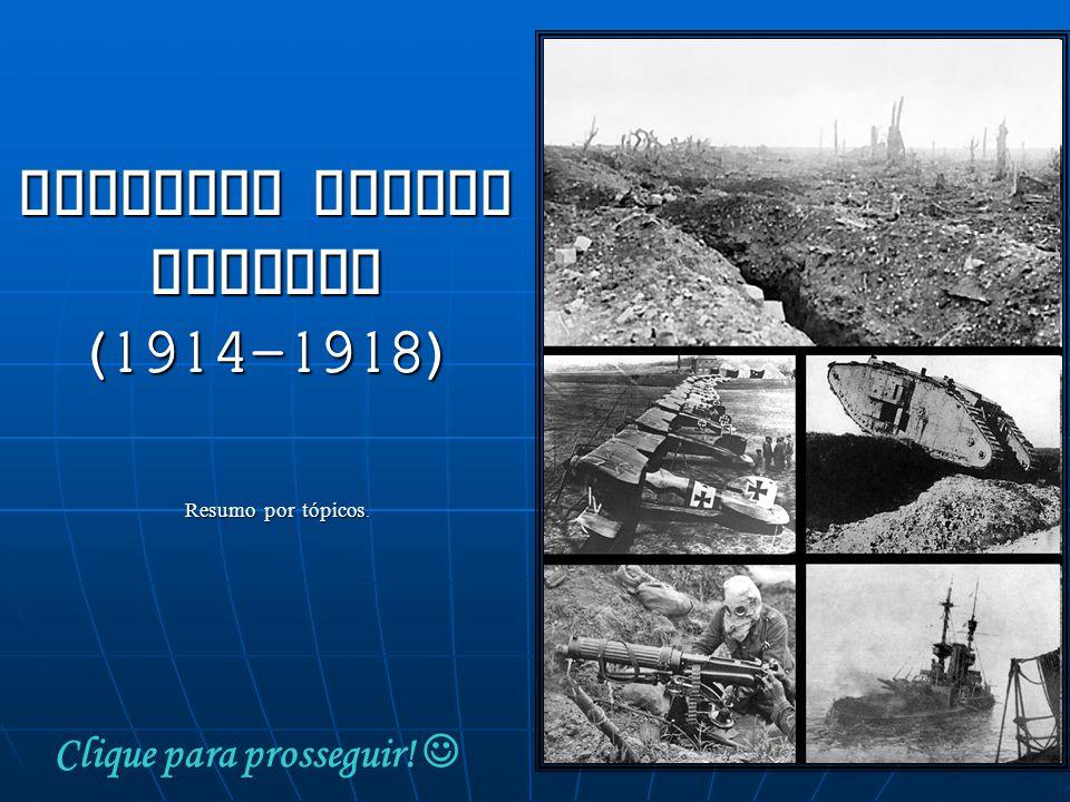 Resumo por tópicos. Clique para prosseguir! PRIMEIRA GUERRA MUNDIAL (1914-1918)
