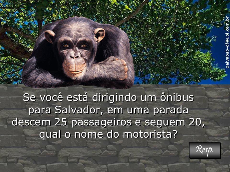 paivabsb-df@uol.com.br Se você está dirigindo um ônibus para Salvador, em uma parada descem 25 passageiros e seguem 20, qual o nome do motorista.