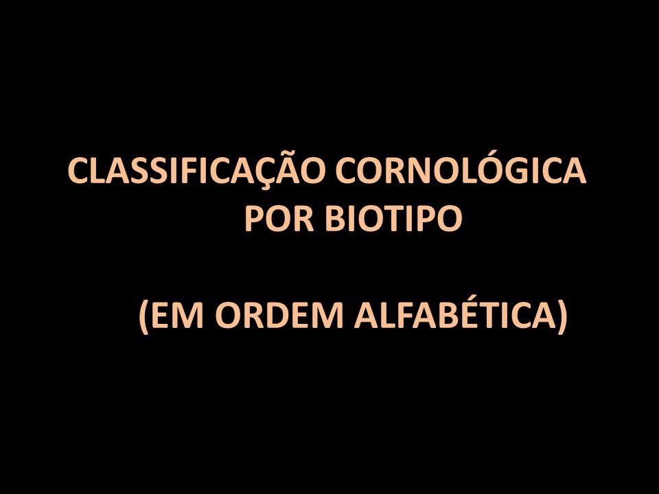CLASSIFICAÇÃO CORNOLÓGICA POR BIOTIPO (EM ORDEM ALFABÉTICA)